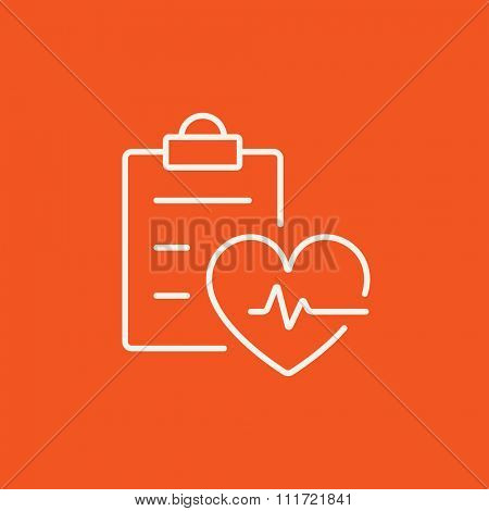 Heartbeat record line icon for web, mobile and infographics. Vector white icon isolated on red background.