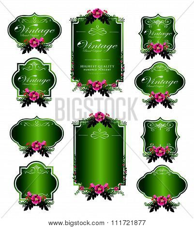 green luxury invitation flower labels and blank labels