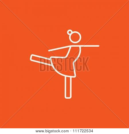 Female figure skater line icon for web, mobile and infographics. Vector white icon isolated on red background.