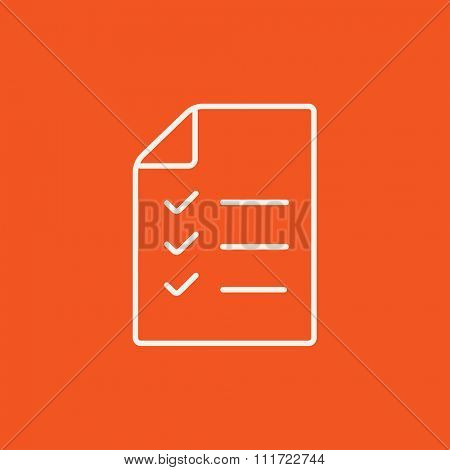 Shopping list line icon for web, mobile and infographics. Vector white icon isolated on red background.