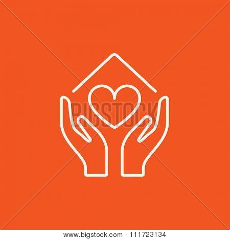 Hands holding house symbol with heart shape line icon for web, mobile and infographics. Vector white icon isolated on red background.
