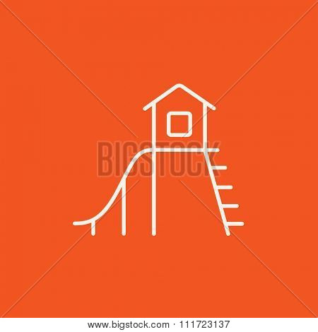 Playhouse with slide line icon for web, mobile and infographics. Vector white icon isolated on red background.