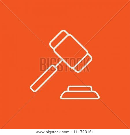 Auction gavel line icon for web, mobile and infographics. Vector white icon isolated on red background.