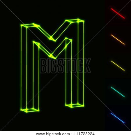 EPS10 vector glowing wireframe letter M - easy to change color