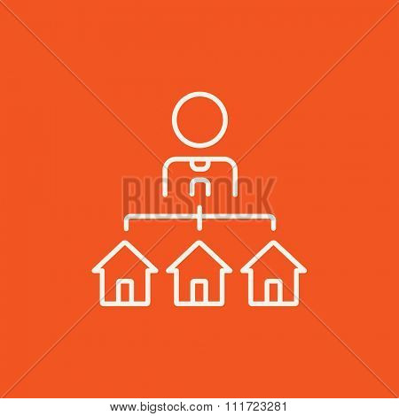 Real estate agent with three houses line icon for web, mobile and infographics. Vector white icon isolated on red background.