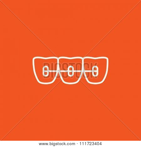 Orthodontic braces line icon for web, mobile and infographics. Vector white icon isolated on red background.