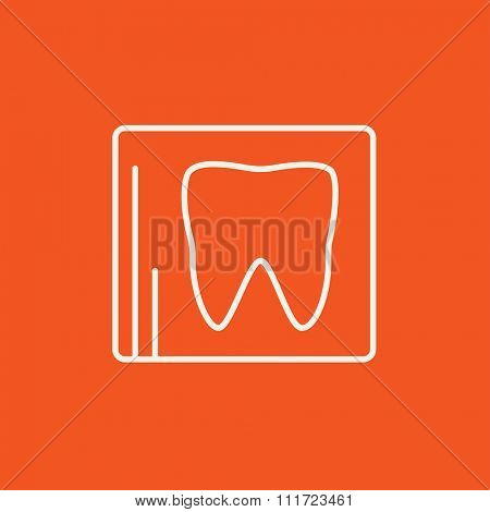 X-ray of the tooth line icon for web, mobile and infographics. Vector white icon isolated on red background.