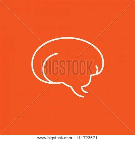 Brain line icon for web, mobile and infographics. Vector white icon isolated on red background.