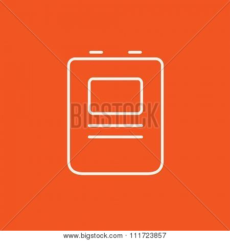 Heart defibrillator line icon for web, mobile and infographics. Vector white icon isolated on red background.