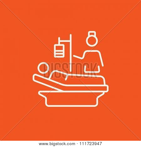 Nurse attending a patient lying on the bed line icon for web, mobile and infographics. Vector white icon isolated on red background.