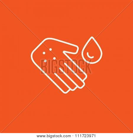 Hand with microbes and water drop line icon for web, mobile and infographics. Vector white icon isolated on red background.