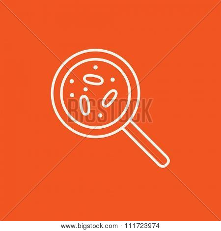 Microorganisms under magnifier line icon for web, mobile and infographics. Vector white icon isolated on red background.