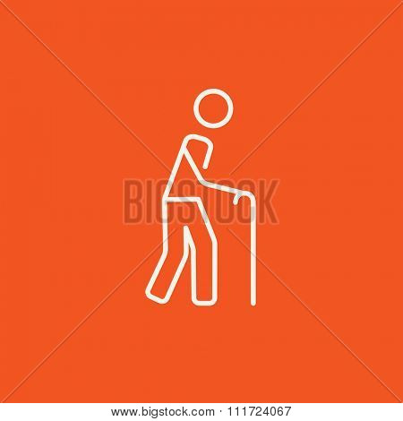 Man walking with cane line icon for web, mobile and infographics. Vector white icon isolated on red background.