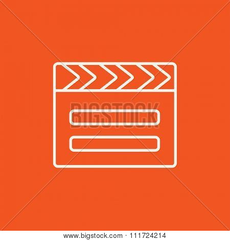 Clapboard line icon for web, mobile and infographics. Vector white icon isolated on red background.