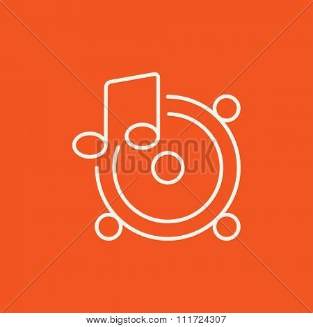 Loudspeakers with music note line icon for web, mobile and infographics. Vector white icon isolated on red background.