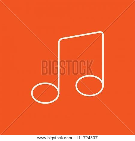 Music note line icon for web, mobile and infographics. Vector white icon isolated on red background.