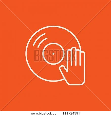 Disc with dj hand line icon for web, mobile and infographics. Vector white icon isolated on red background.