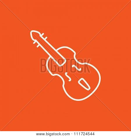 Cello line icon for web, mobile and infographics. Vector white icon isolated on red background.