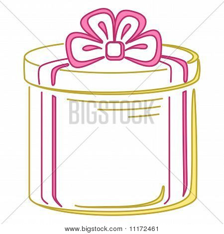 Gift box round, pictogram