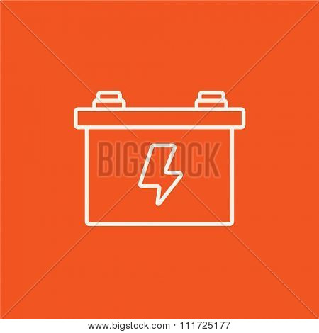 Car battery line icon for web, mobile and infographics. Vector white icon isolated on red background.