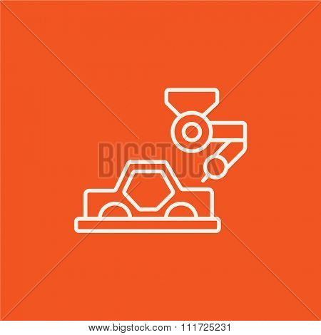 Automated assembly line for cars line icon for web, mobile and infographics. Vector white icon isolated on red background.