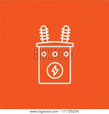 High voltage transformer line icon for web, mobile and infographics. Vector white icon isolated on red background.