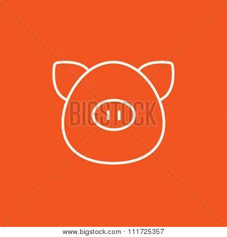 Pig head line icon for web, mobile and infographics. Vector white icon isolated on red background.