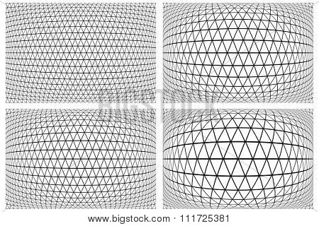 3D latticed patterns set. Geometric textures. Vector art.
