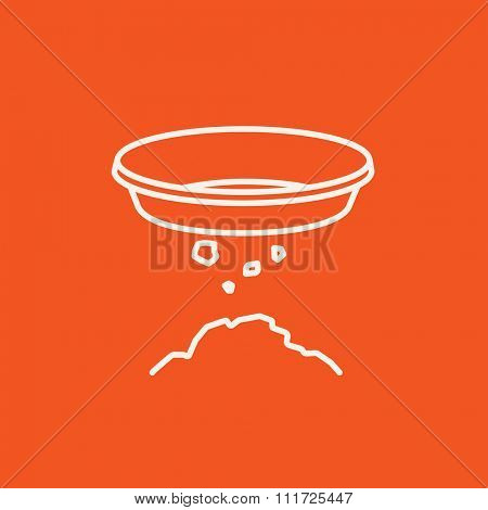 Bowl for sifting gold line icon for web, mobile and infographics. Vector white icon isolated on red background.