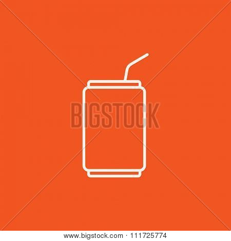 Soda can with drinking straw line icon for web, mobile and infographics. Vector white icon isolated on red background.
