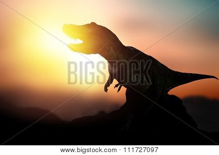 Dinosaur Prehistoric  Forest In The Sunset Sunrise Or Background.