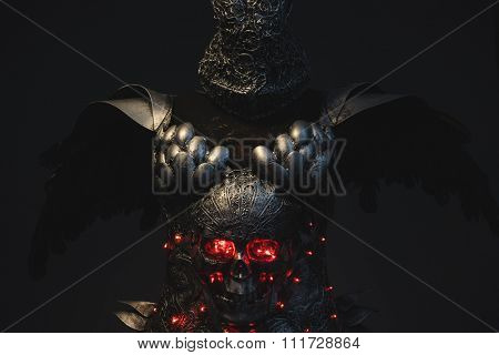 Gladiator, silver armor skull with red eyes and led lights, helmet metal filigree