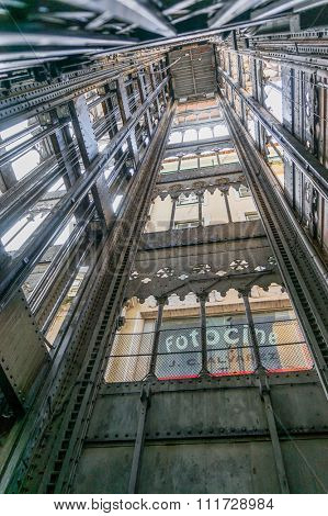 Lisbon, Portugal March 24, 2013: Inside of Santa Justa elevator in Lisbon, Portugal on July 27, 2013. The elevator was built by Raoul Mesnard in 1902 to connect Baixa Pombalina and Chiado