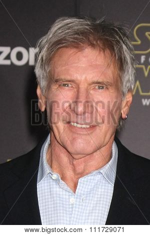 LOS ANGELES - DEC 14:  Harrison Ford at the Star Wars: The Force Awakens World Premiere at the Hollywood & Highland on December 14, 2015 in Los Angeles, CA