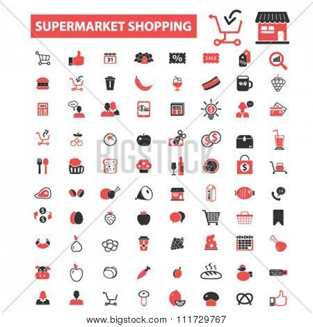 supermarket shopping retail  icons, signs vector concept set for infographics, mobile, website, application