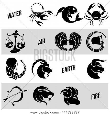 Vector Illustration of Black Zodiac Star Signs