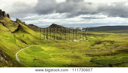 Quiraing mountain on isle of skye, Scotland by a beautiful summer day.