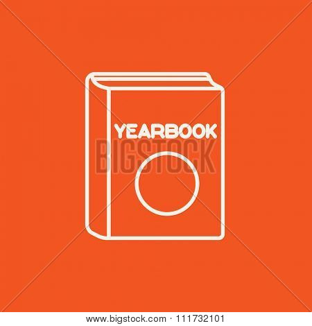 Yearbook line icon for web, mobile and infographics. Vector white icon isolated on red background.