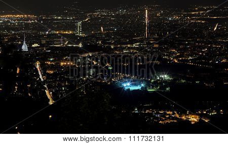 Night Aerial View Of The Populous European Metropolis