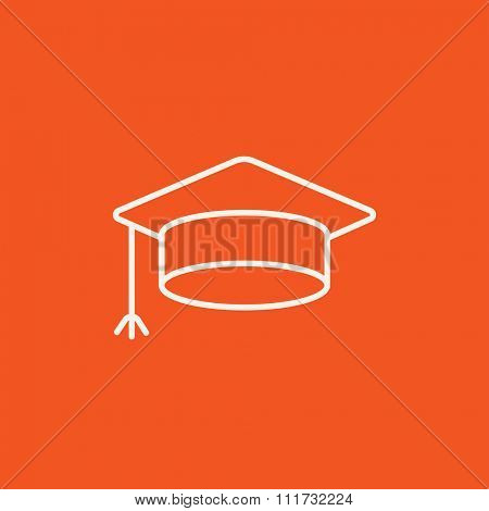 Graduation cap line icon for web, mobile and infographics. Vector white icon isolated on red background.