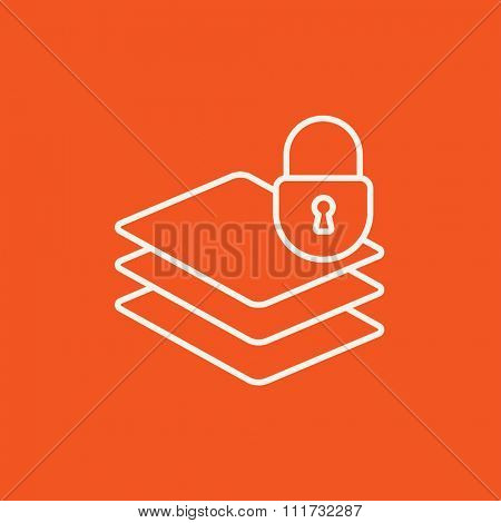 Stack of papers with lock line icon for web, mobile and infographics. Vector white icon isolated on red background.
