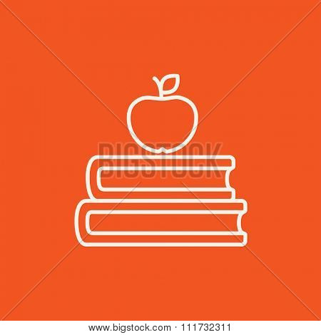 Books and apple on the top line icon for web, mobile and infographics. Vector white icon isolated on red background.