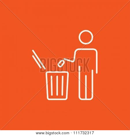 Man throwing garbage in a bin line icon for web, mobile and infographics. Vector white icon isolated on red background.