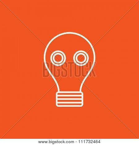 Gas mask line icon for web, mobile and infographics. Vector white icon isolated on red background.