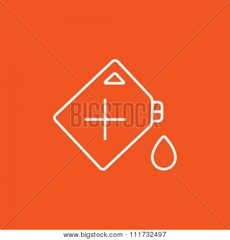 Gas container line icon for web, mobile and infographics. Vector white icon isolated on red background.