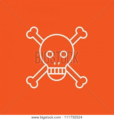 Skull and cross bones line icon for web, mobile and infographics. Vector white icon isolated on red background.