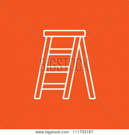 Stepladder line icon for web, mobile and infographics. Vector white icon isolated on red background.
