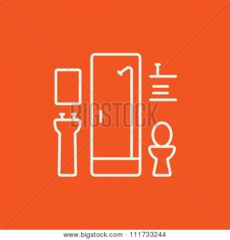 Bathroom line icon for web, mobile and infographics. Vector white icon isolated on red background.