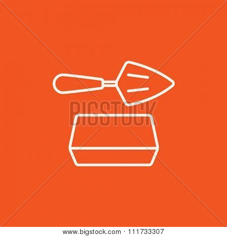 Spatula with brick line icon for web, mobile and infographics. Vector white icon isolated on red background.
