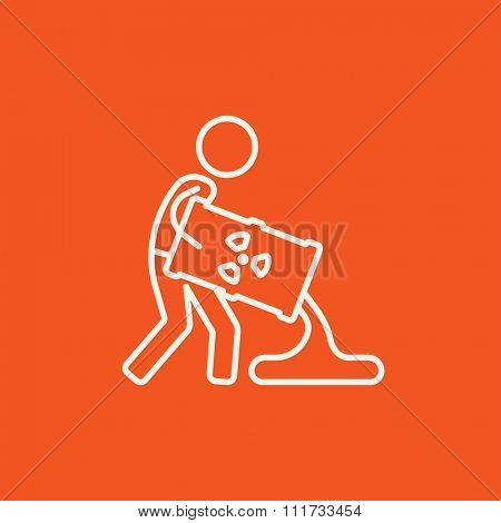 A man pouring the liquid from the barrel with ionizing radiation sign for web, mobile and infographics. Vector white icon isolated on red background.